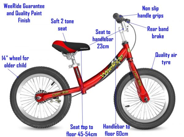 WeeRide Deluxe Balance Bike in red