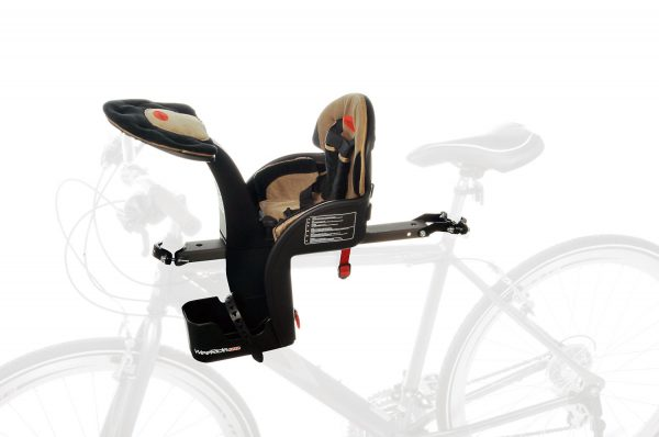 Beige Safe Front Deluxe baby bike seat mounted on bike