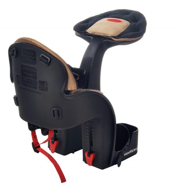 Beige Safe Front Deluxe baby bike seat rear angle view