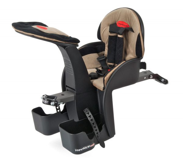 Beige Safe Front Deluxe baby bike seat angle view