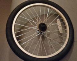 Silver bike wheel