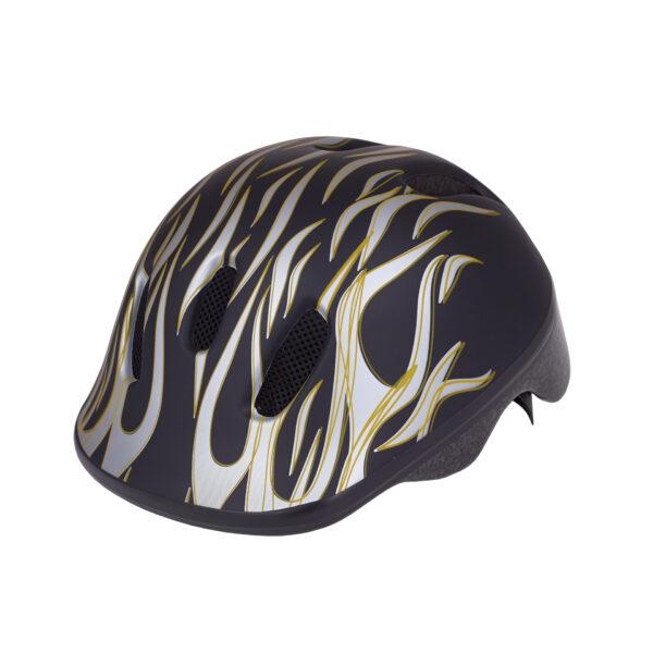 Black-silver bike helmet side view