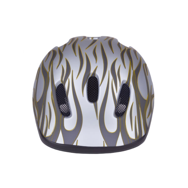 Silver-gray bike helmet front view