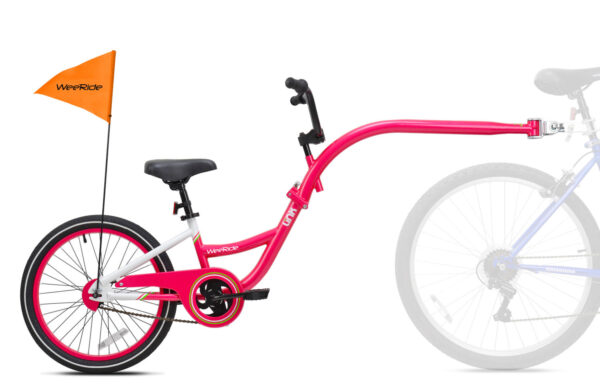 Pink tag-along bike