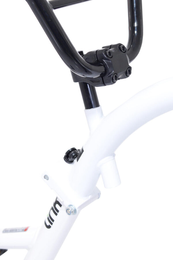 Close-up of White Tag-along bike
