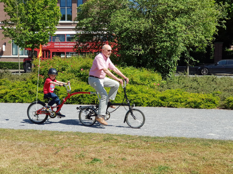 Brompton folding bike with child tagalong