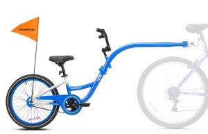 Blue tag-along bike