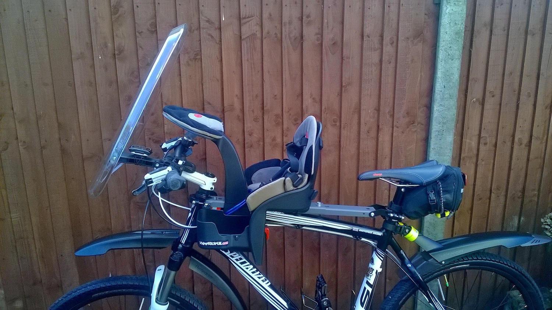 bike with child bike seat installed