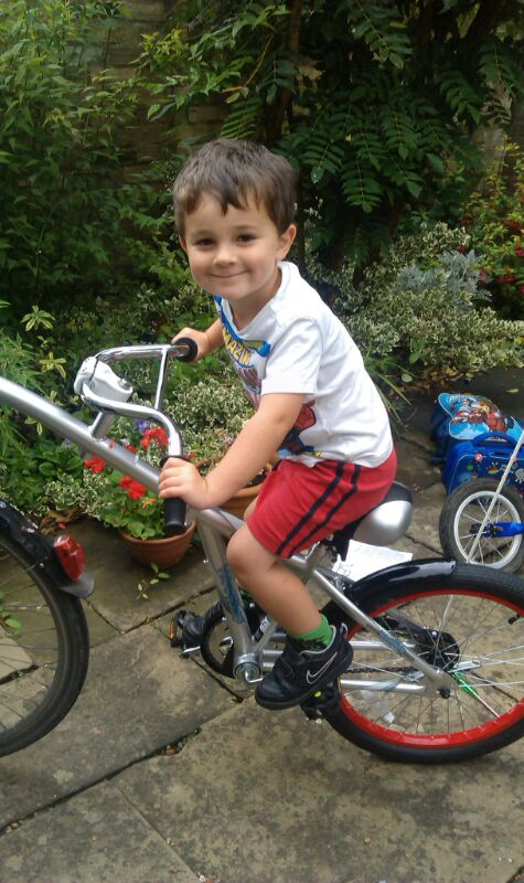 Young child on a tag along bike
