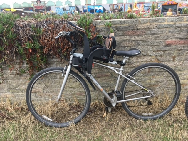 Bike wth a child bike seat attached