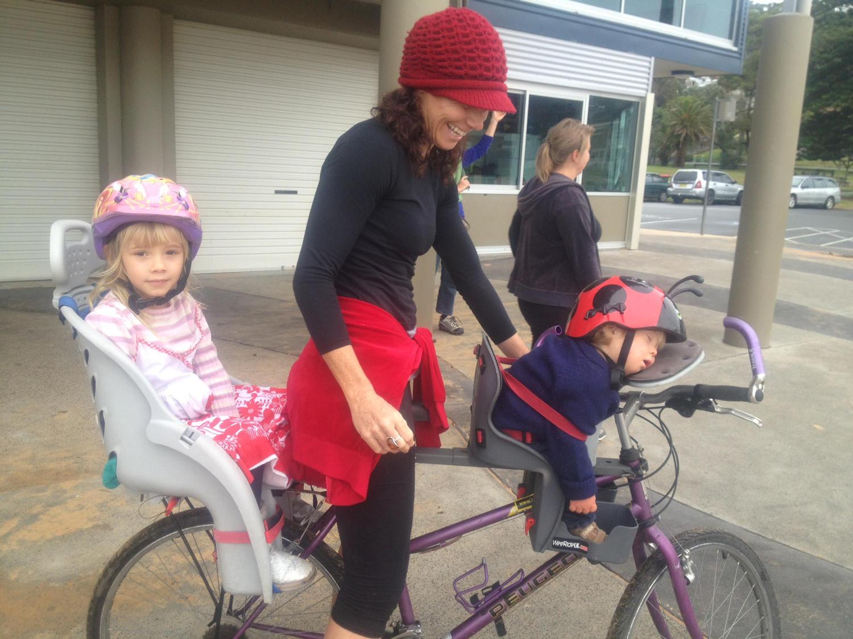 Bike with 2 child bike seats installed