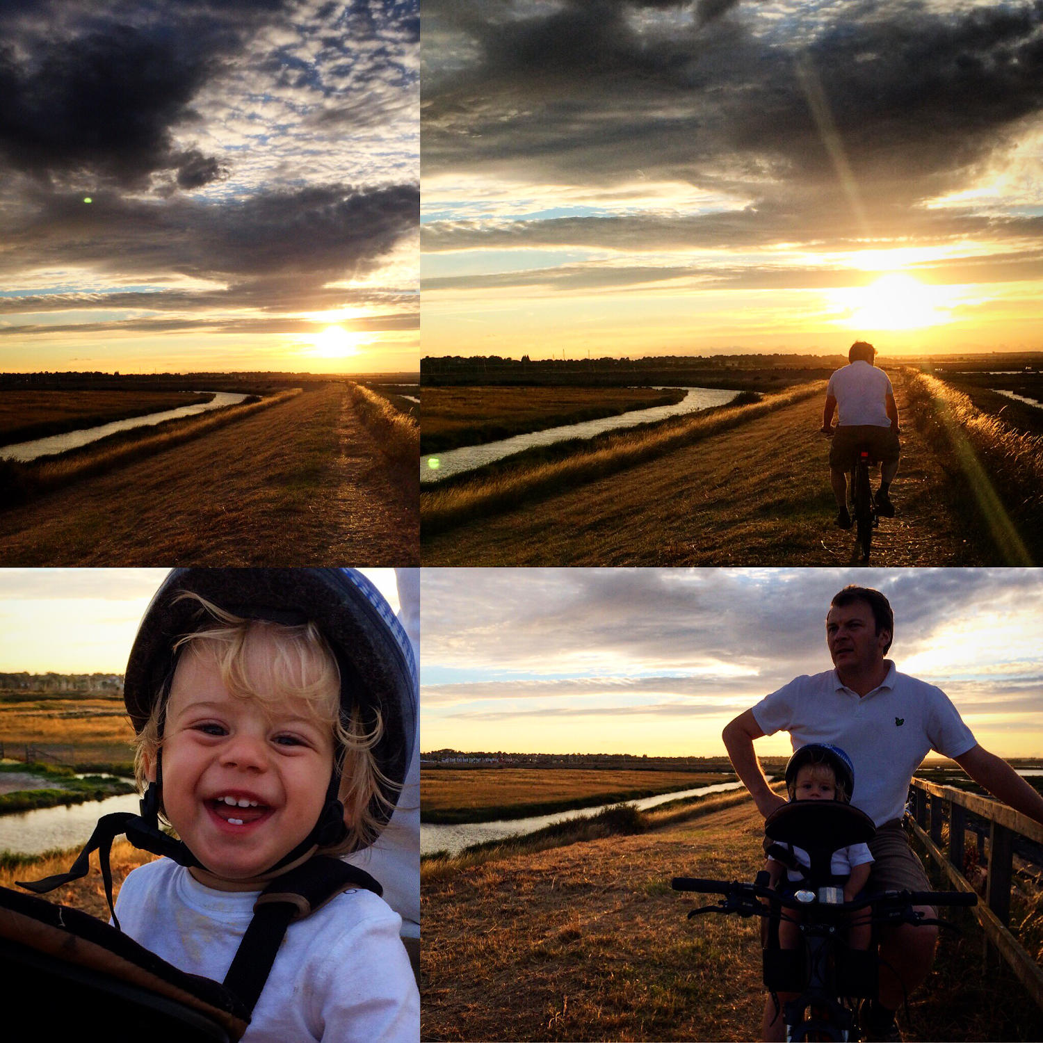 Collage of sunset photos with a bike
