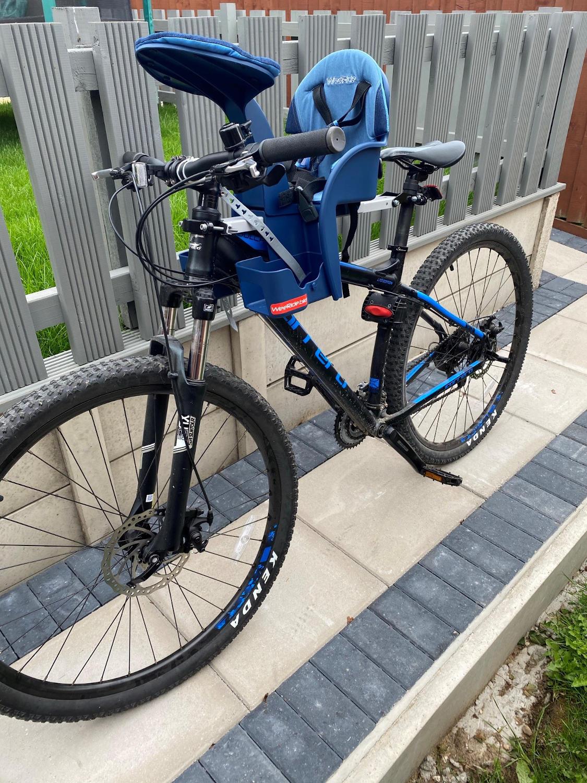 Mountain bike with a child bike seat
